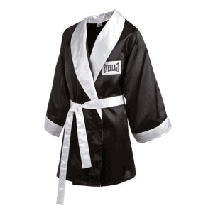 100% Poly Satin Full Length Boxing Robe (Black)